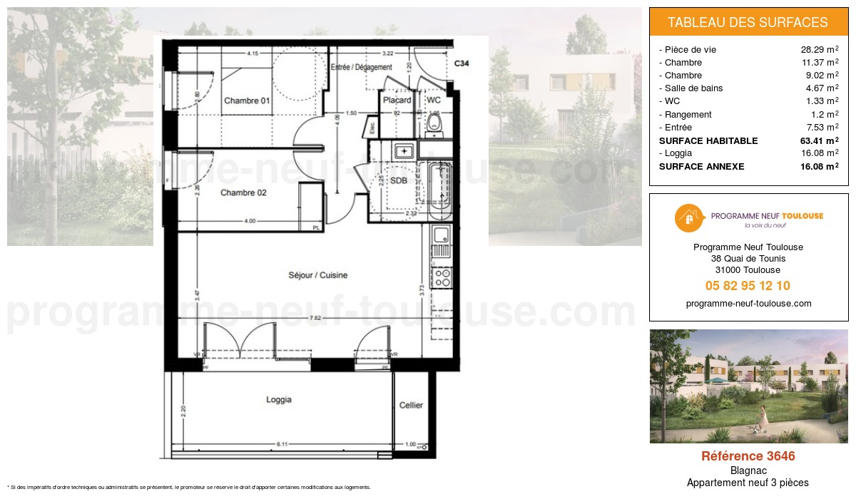Plan pour un Appartement neuf de  63.41m² à Blagnac