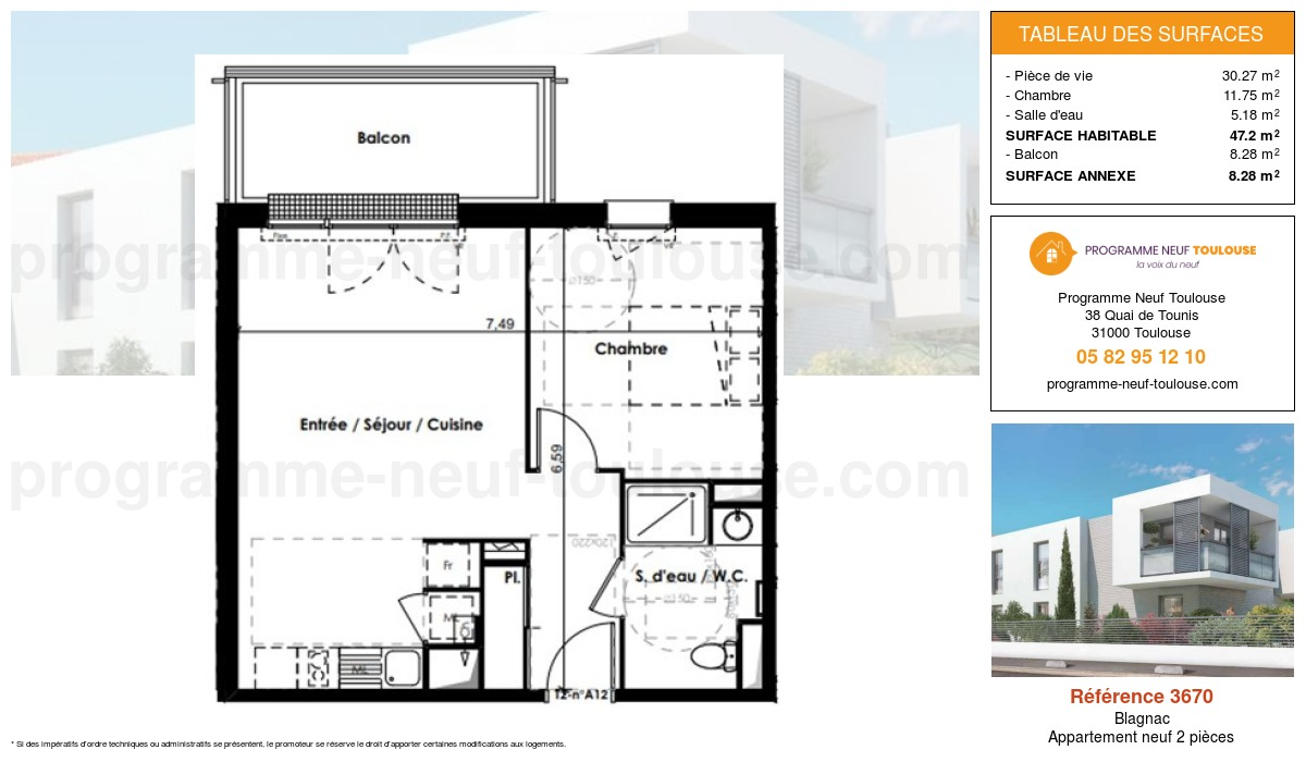 Plan pour un Appartement neuf de  47.2m² à Blagnac