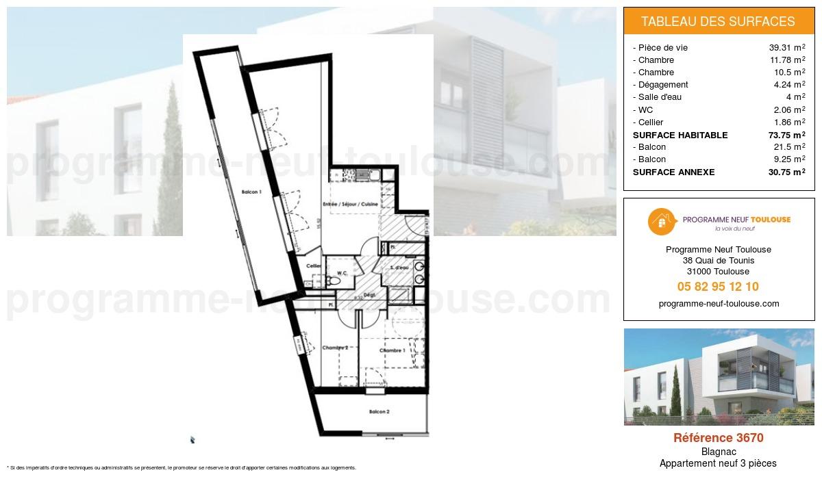 Plan pour un Appartement neuf de  73.75m² à Blagnac
