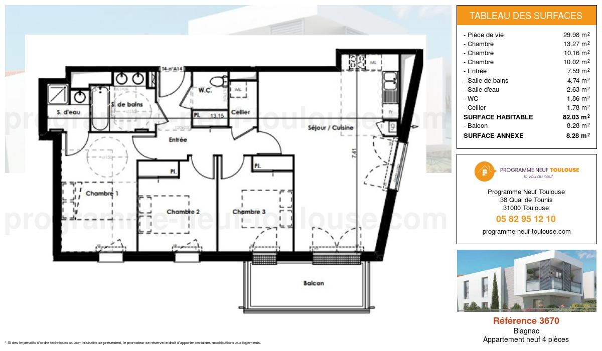 Plan pour un Appartement neuf de  82.03m² à Blagnac