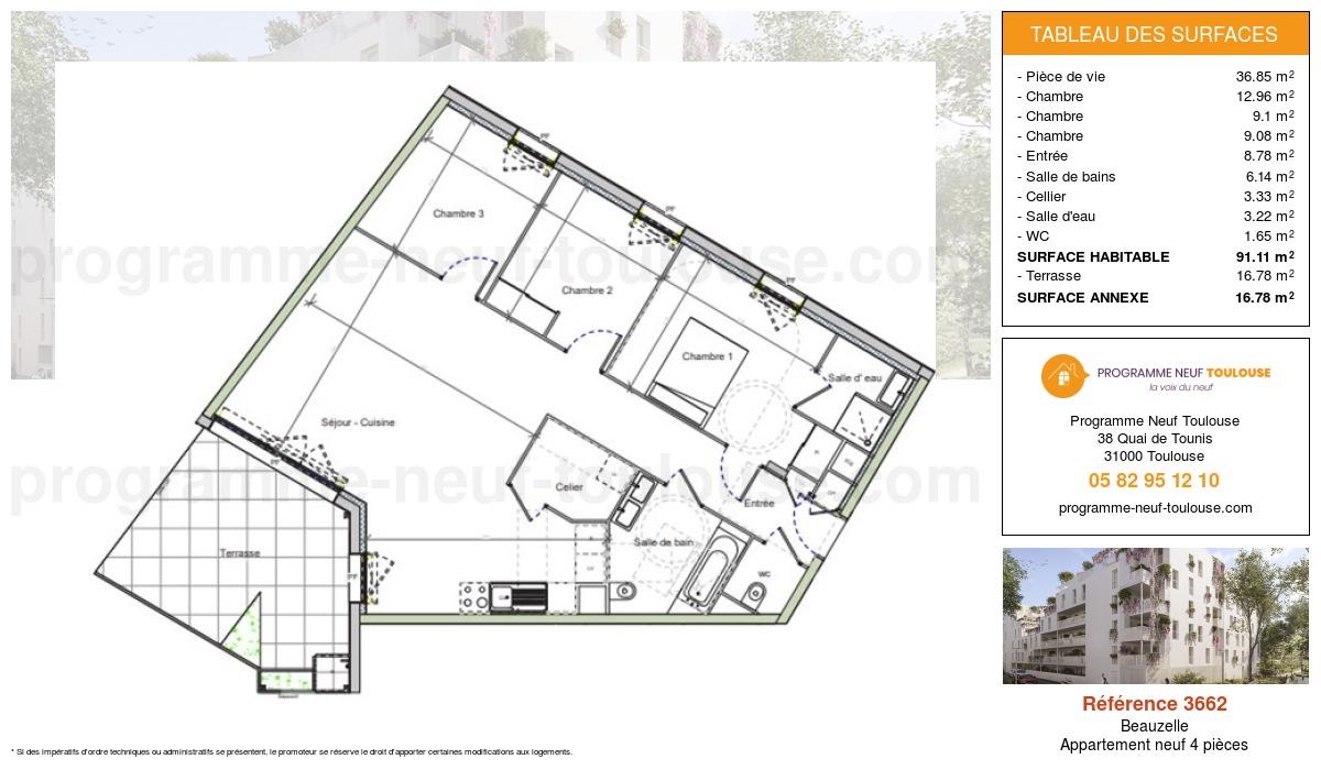 Plan pour un Appartement neuf de  91.11m² à Beauzelle