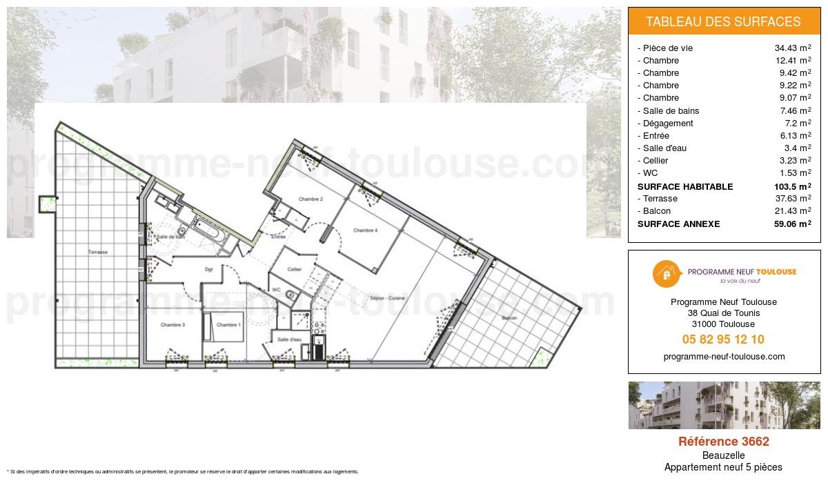 Plan pour un Appartement neuf de  103.5m² à Beauzelle