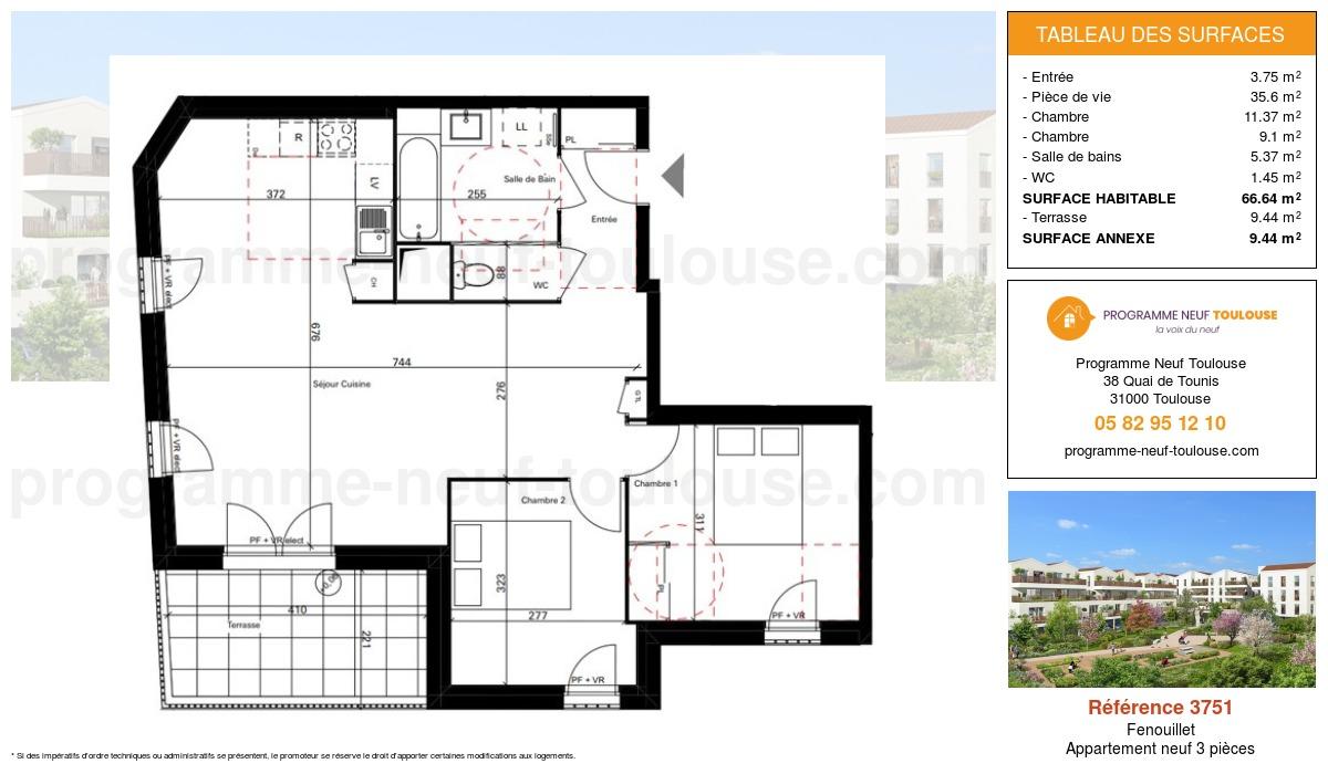 Plan pour un Appartement neuf de  65.64m² à Fenouillet