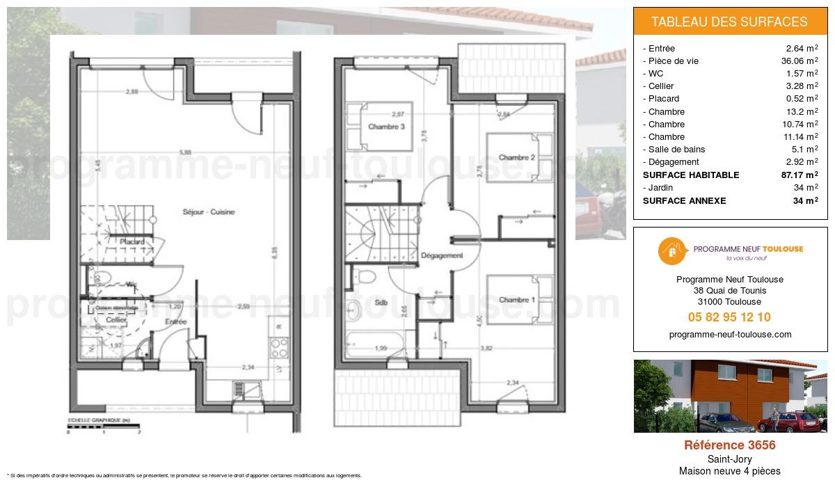 Plan pour un Maison neuve de  87.17m² à Saint-Jory