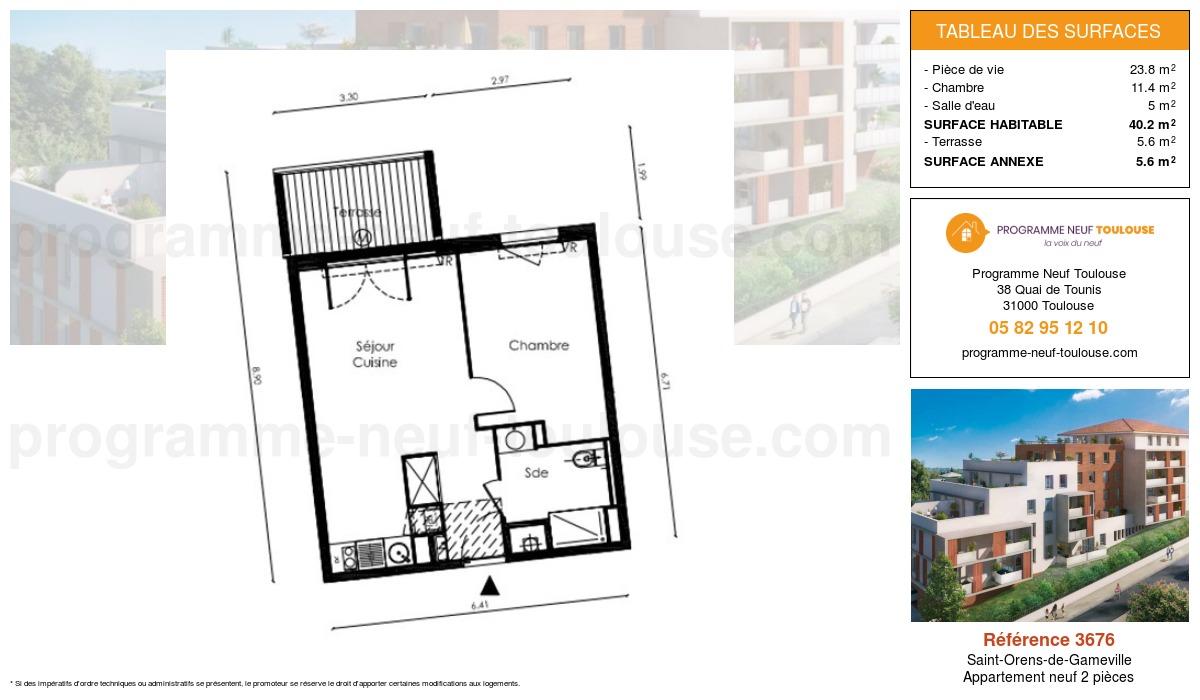Plan pour un Appartement neuf de  40.2m² à Saint-Orens-de-Gameville