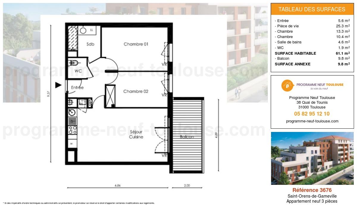 Plan pour un Appartement neuf de  61.1m² à Saint-Orens-de-Gameville