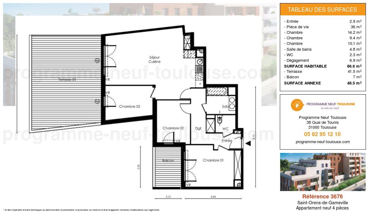 Plan pour un Appartement neuf de  86.6m² à Saint-Orens-de-Gameville