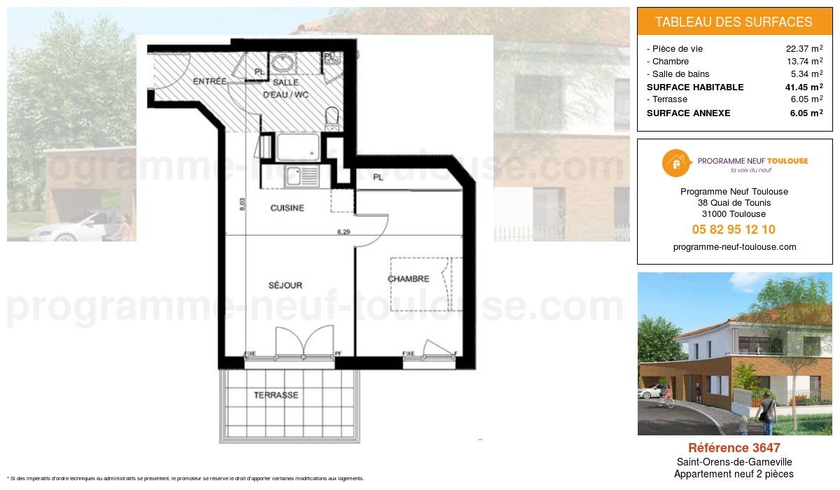Plan pour un Appartement neuf de  41.45m² à Saint-Orens-de-Gameville