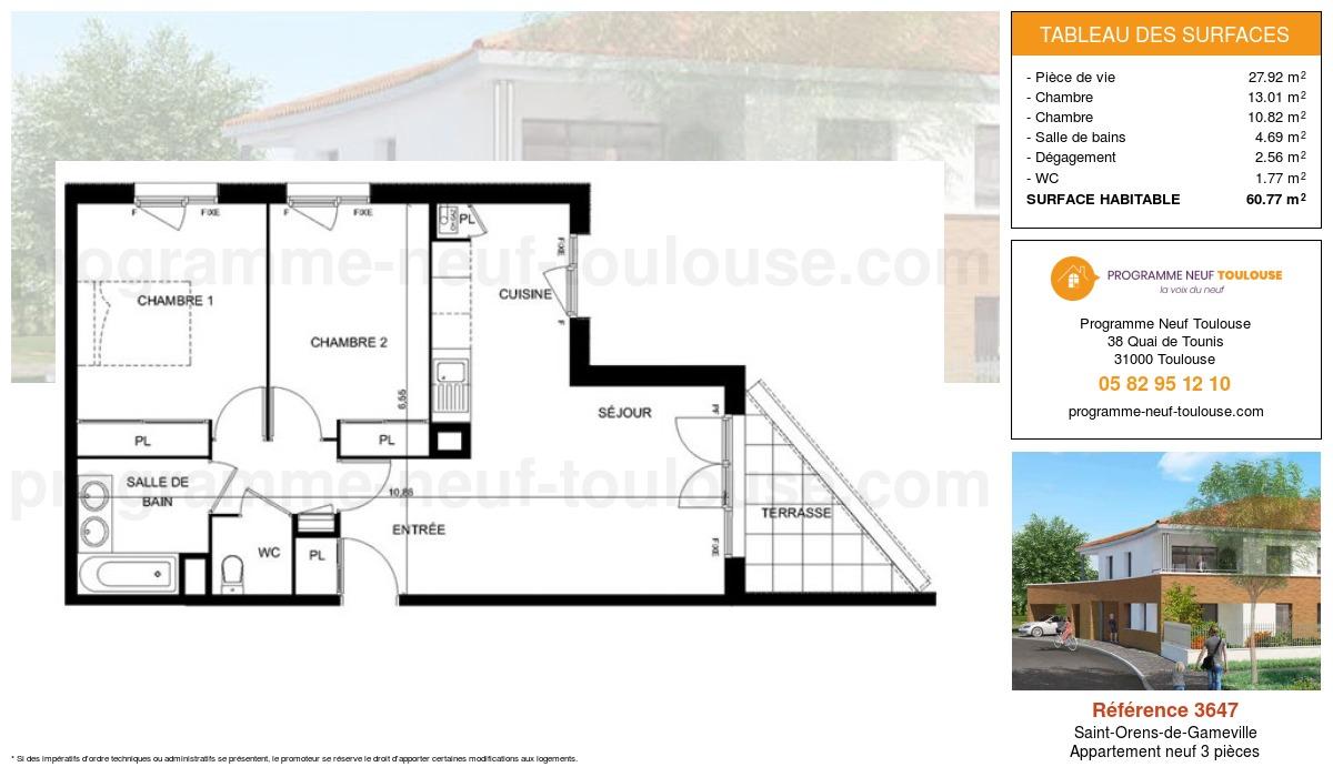 Plan pour un Appartement neuf de  60.77m² à Saint-Orens-de-Gameville