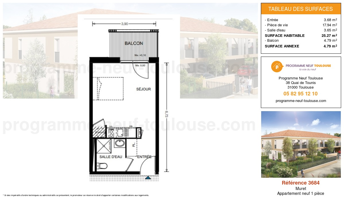 Plan pour un Appartement neuf de  25.27m² à Muret