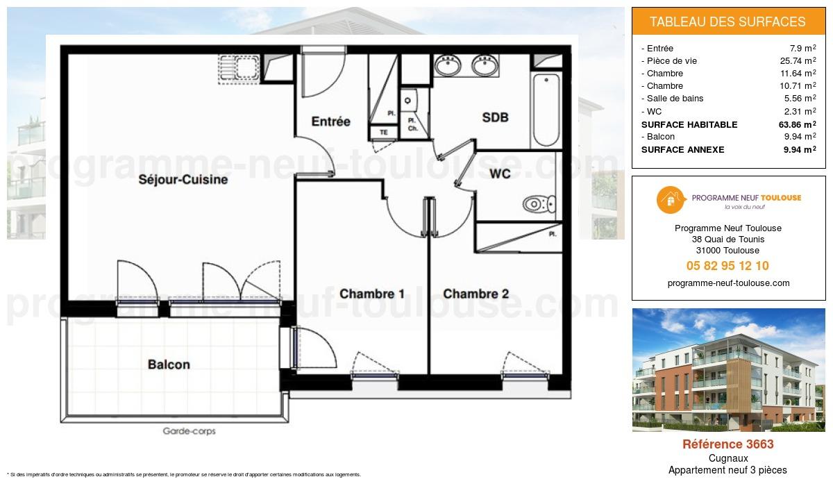Plan pour un Appartement neuf de  63.86m² à Cugnaux