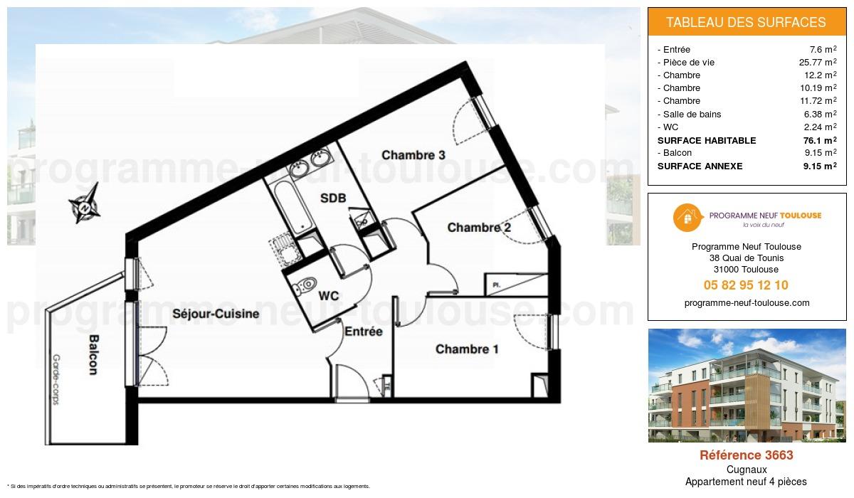 Plan pour un Appartement neuf de  76.1m² à Cugnaux