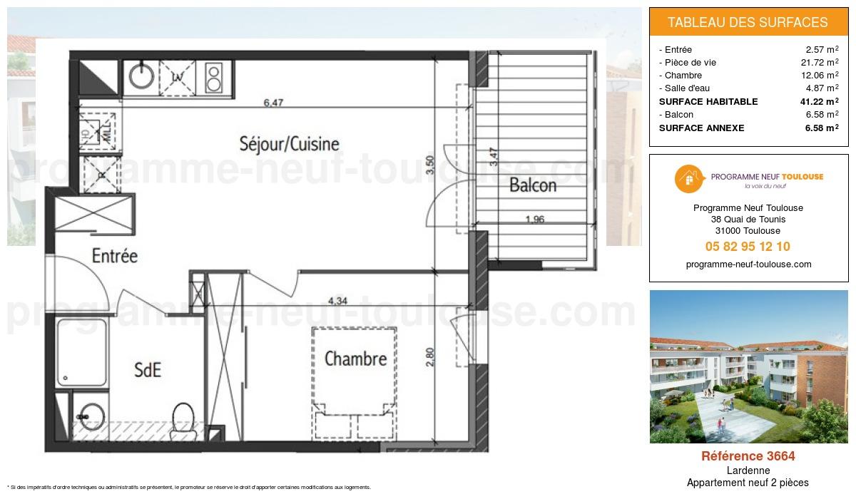 Plan pour un Appartement neuf de  41.22m² à Lardenne
