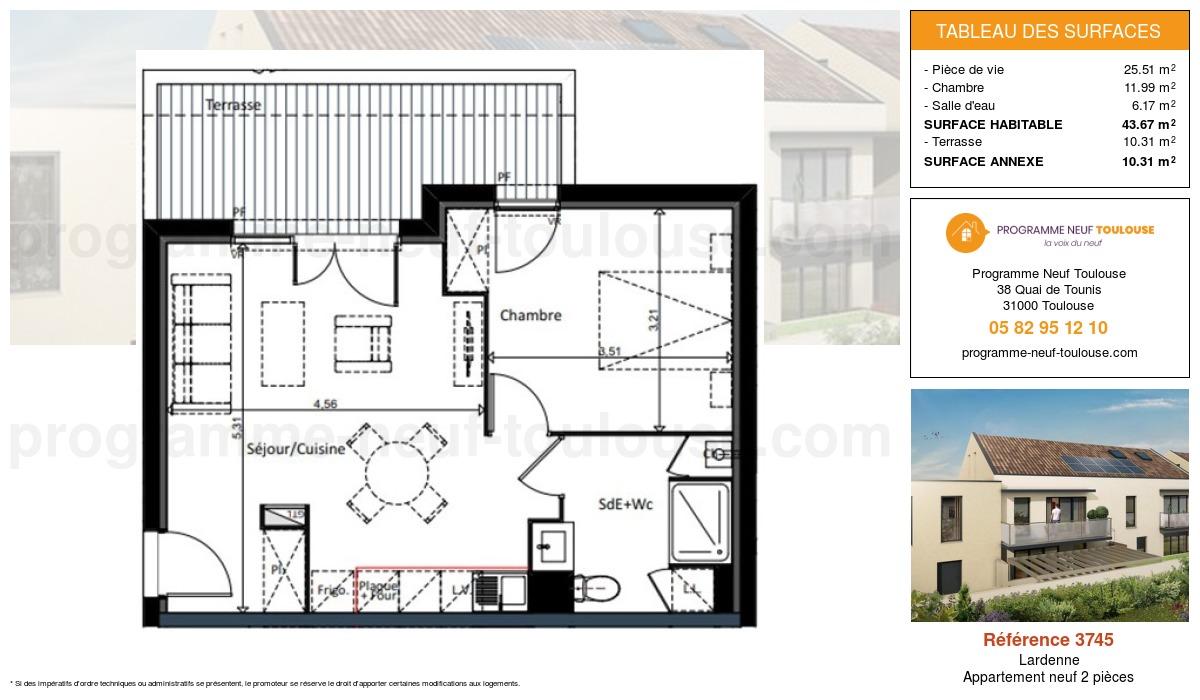Plan pour un Appartement neuf de  43.67m² à Lardenne