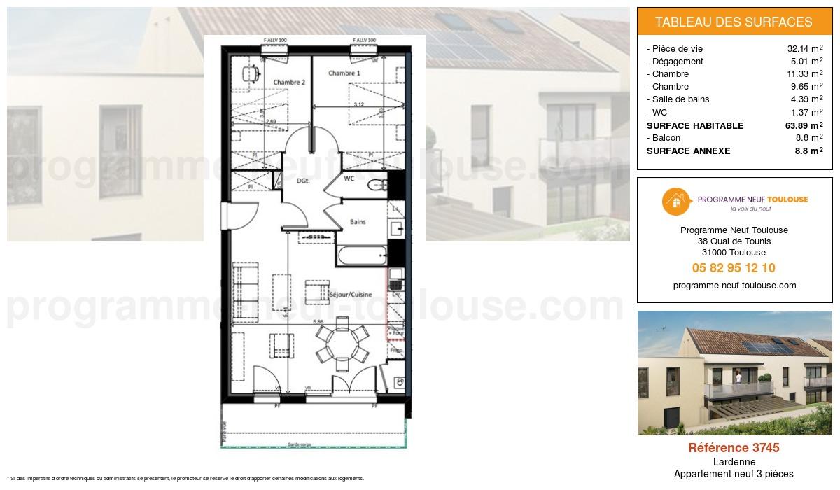 Plan pour un Appartement neuf de  63.89m² à Lardenne