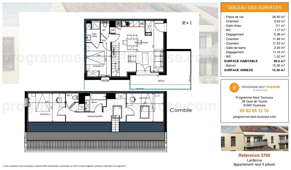 Plan pour un Appartement neuf de  80.5m² à Lardenne