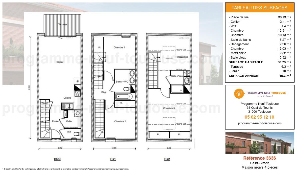 Plan pour un Maison neuve de  88.78m² à Saint-Simon