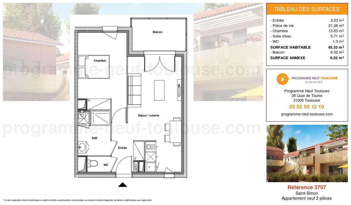 Plan pour un Appartement neuf de  45.33m² à Saint-Simon