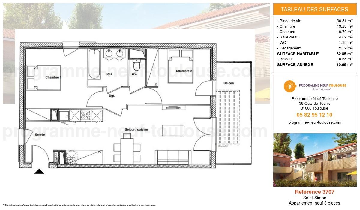 Plan pour un Appartement neuf de  62.85m² à Saint-Simon