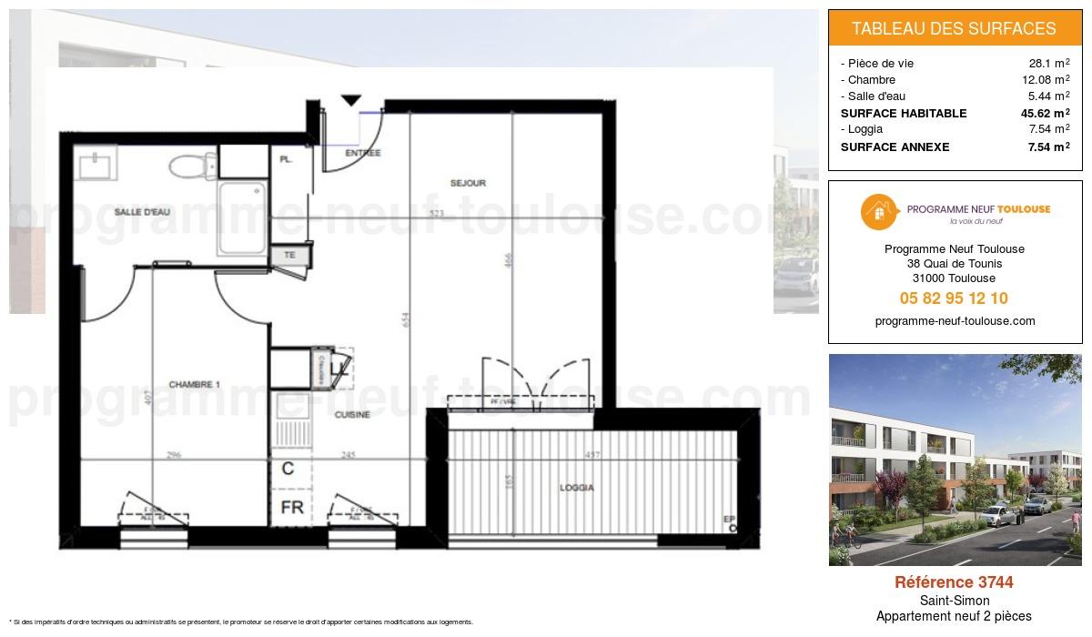 Plan pour un Appartement neuf de  45.62m² à Saint-Simon