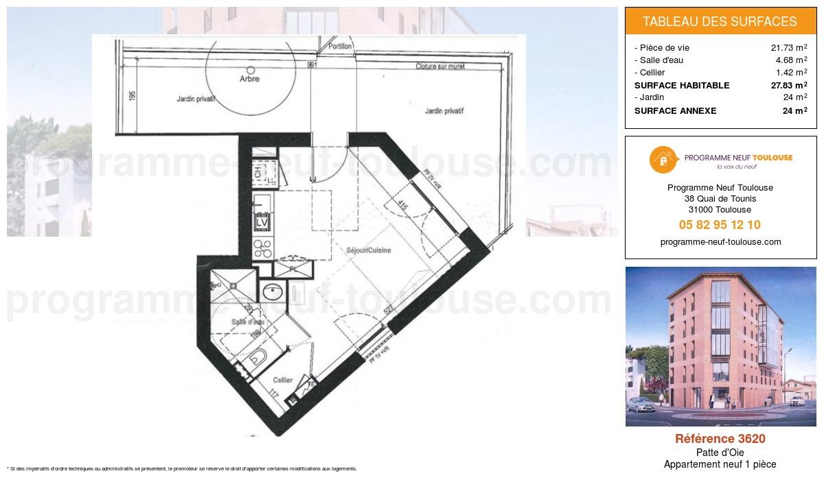 Plan pour un Appartement neuf de  27.83m² à Patte d'Oie