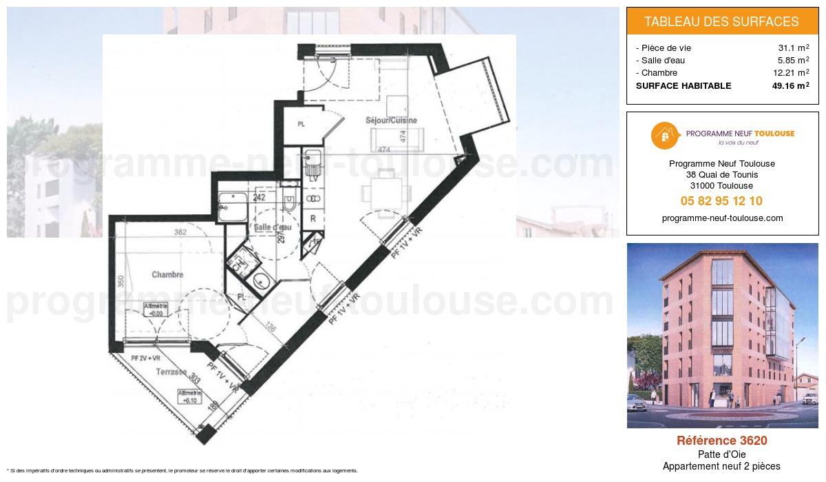 Plan pour un Appartement neuf de  49.16m² à Patte d'Oie