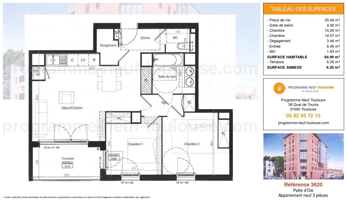 Plan pour un Appartement neuf de  64.99m² à Patte d'Oie