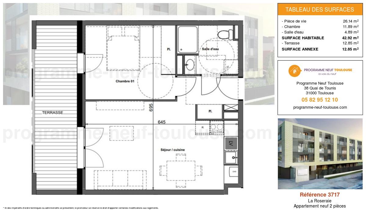 Plan pour un Appartement neuf de  42.92m² à La Roseraie