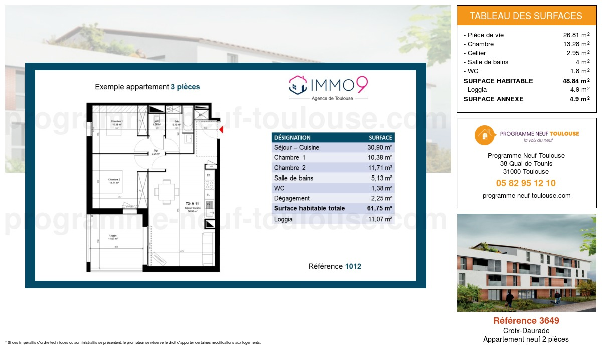 Plan pour un Appartement neuf de  48.84m² à Croix-Daurade
