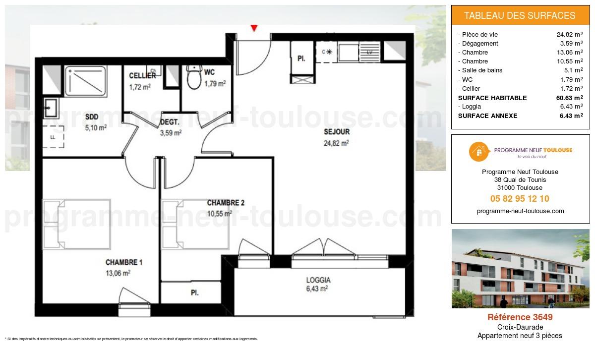 Plan pour un Appartement neuf de  60.63m² à Croix-Daurade