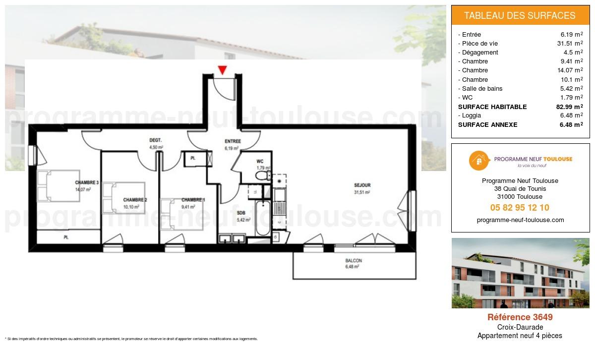 Plan pour un Appartement neuf de  82.98m² à Croix-Daurade