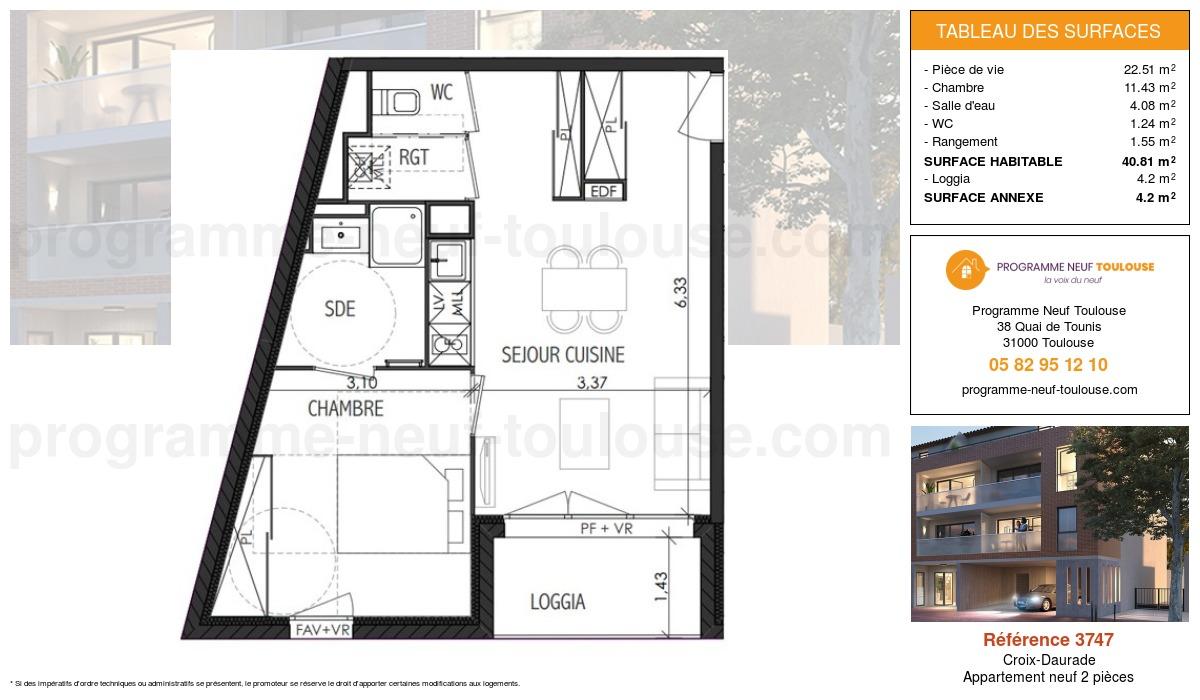 Plan pour un Appartement neuf de  40.81m² à Croix-Daurade