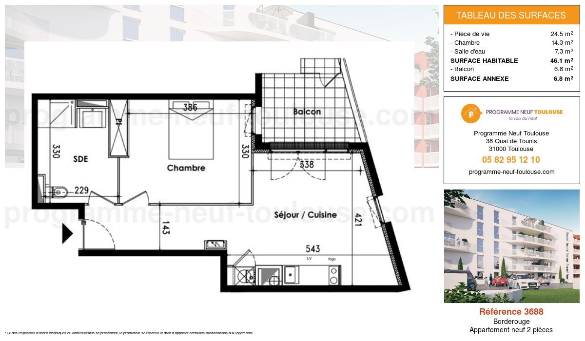 Plan pour un Appartement neuf de  46.1m² à Borderouge