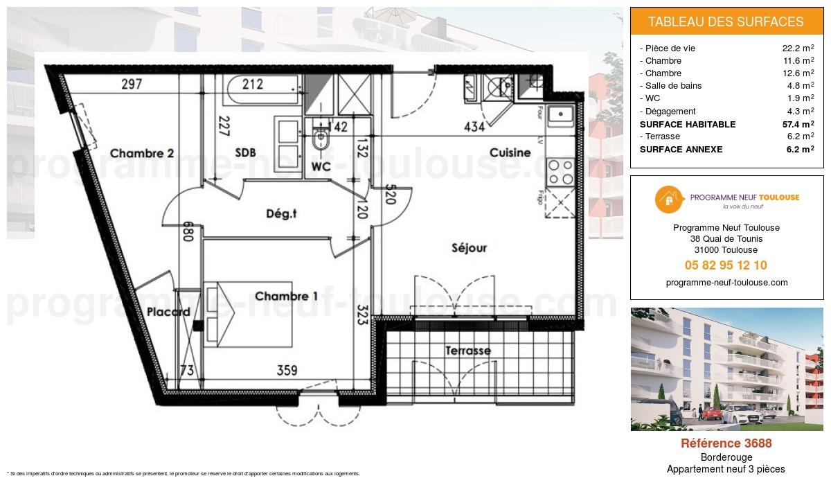 Plan pour un Appartement neuf de  57.4m² à Borderouge