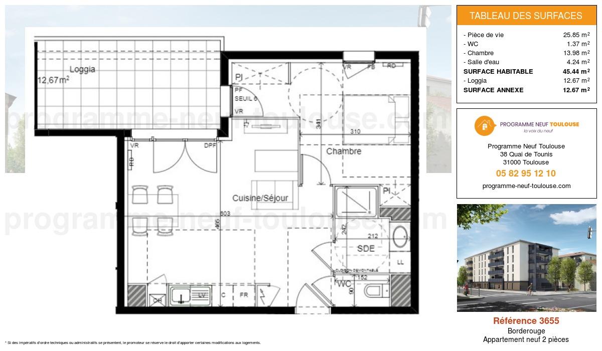Plan pour un Appartement neuf de  45.44m² à Borderouge