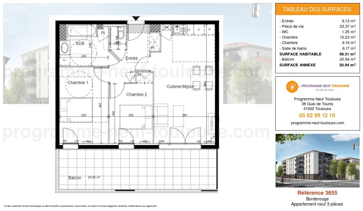 Plan pour un Appartement neuf de  54.51m² à Borderouge