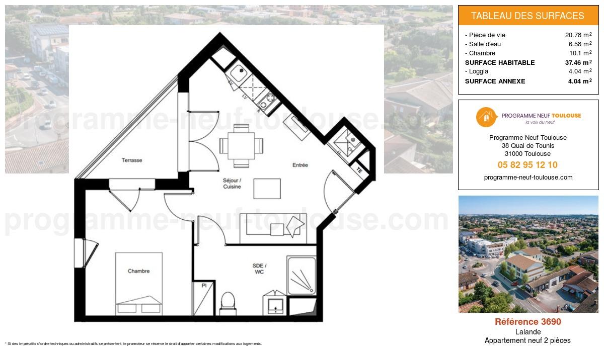 Plan pour un Appartement neuf de  37.46m² à Lalande