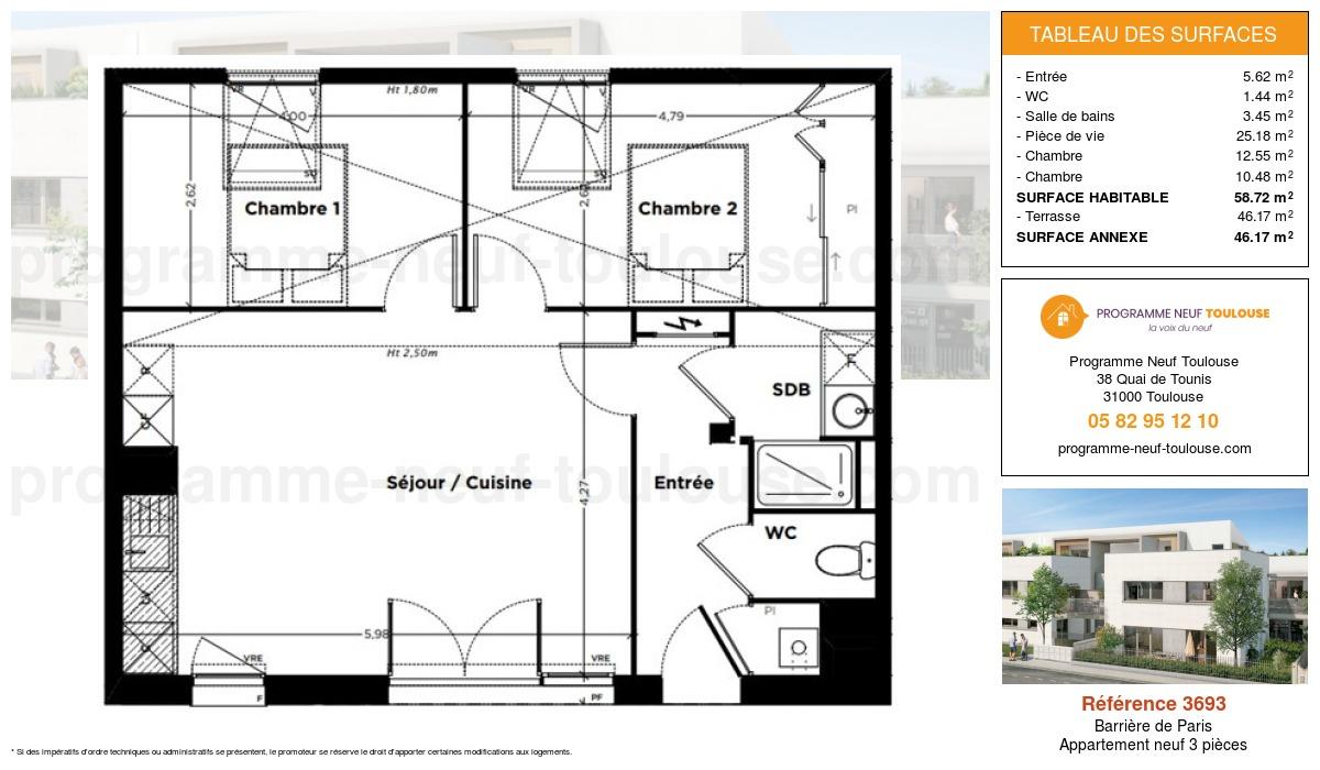 Plan pour un Appartement neuf de  58.72m² à Barrière de Paris