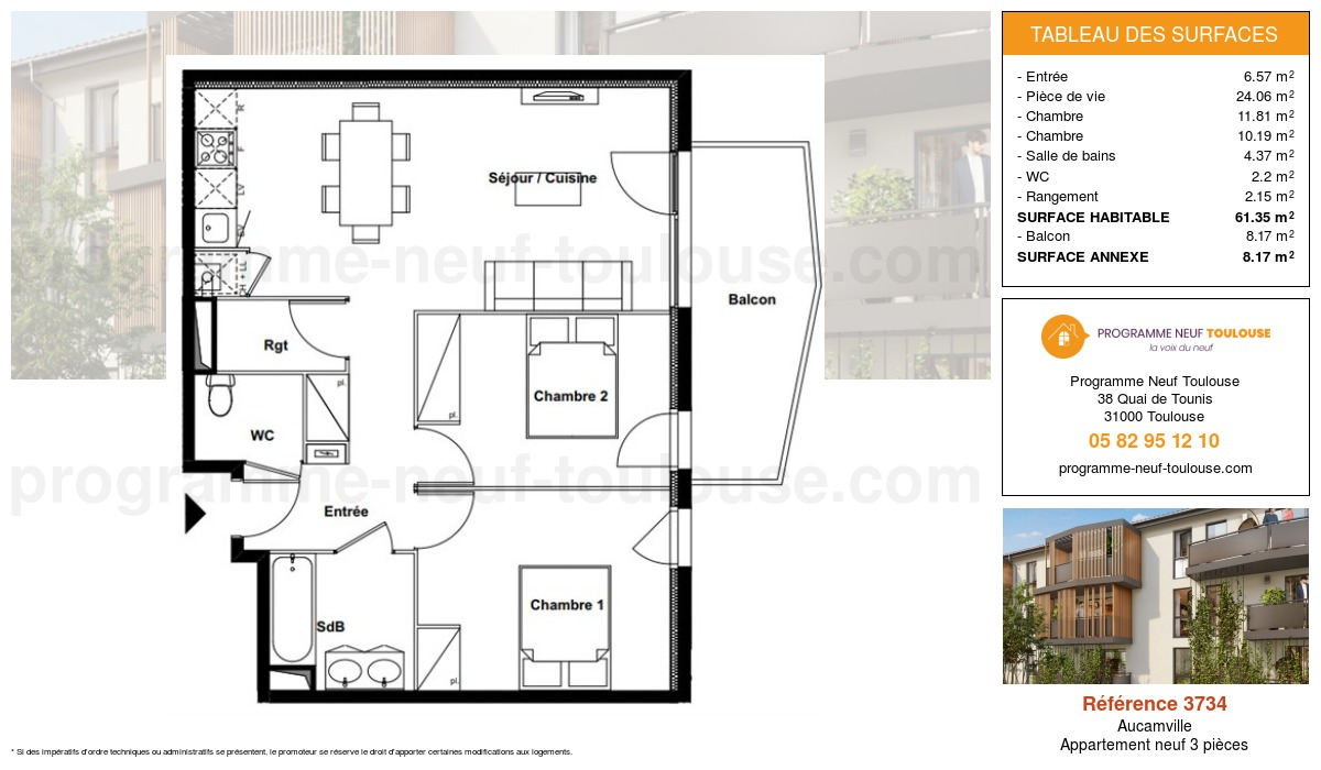 Plan pour un Appartement neuf de  61.35m² à Aucamville