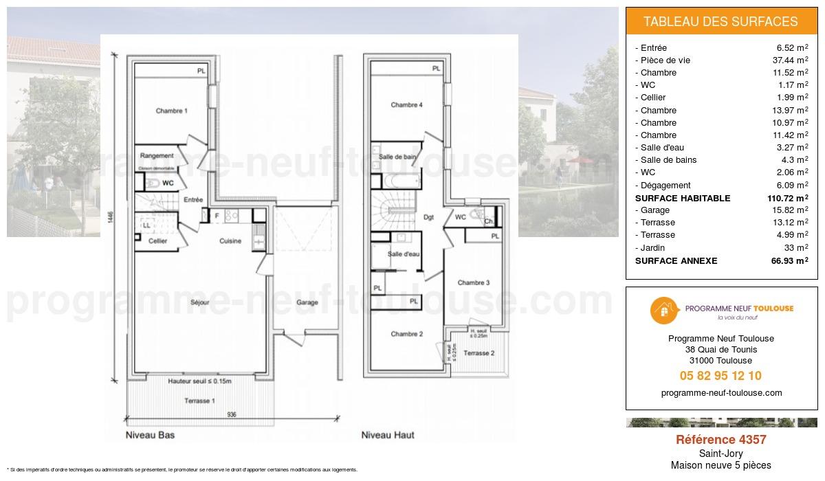 Plan pour un Maison neuve de  110.72m² à Saint-Jory