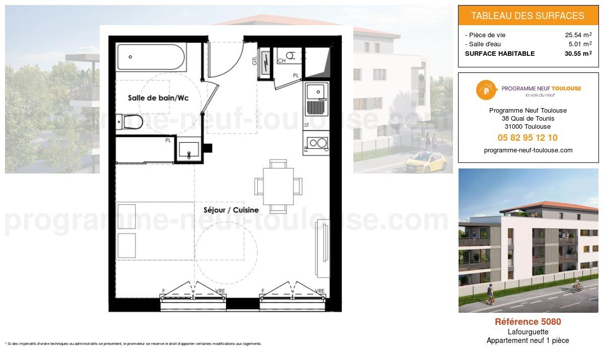 Plan pour un Appartement neuf de  30.55m² à Lafourguette