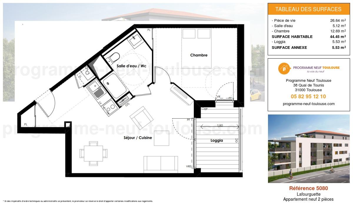 Plan pour un Appartement neuf de  44.45m² à Lafourguette