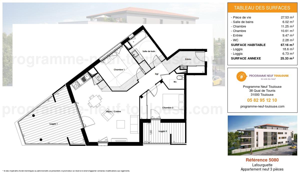 Plan pour un Appartement neuf de  67.16m² à Lafourguette