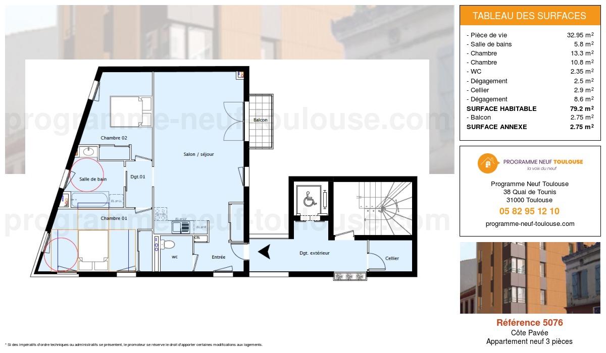 Plan pour un Appartement neuf de  70.6m² à Côte Pavée
