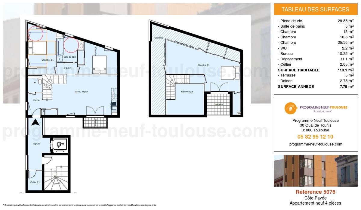 Plan pour un Appartement neuf de  110.1m² à Côte Pavée
