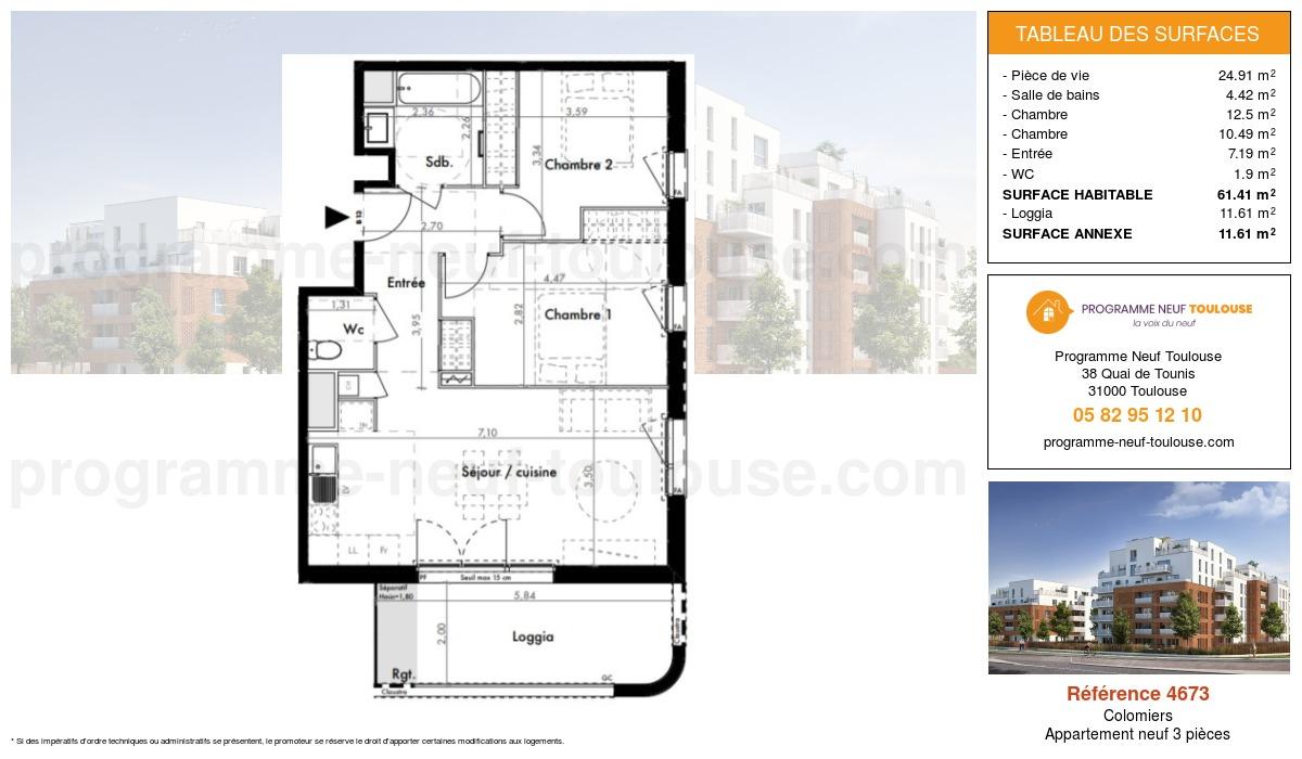 Plan pour un Appartement neuf de  61.41m² à Colomiers