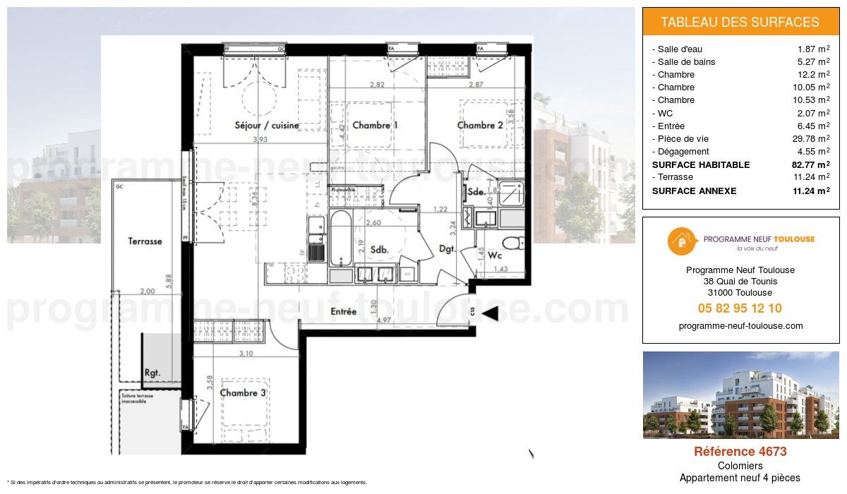 Plan pour un Appartement neuf de  82.77m² à Colomiers