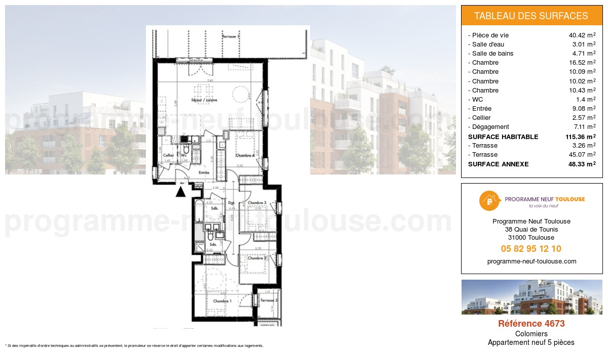 Plan pour un Appartement neuf de  115.36m² à Colomiers