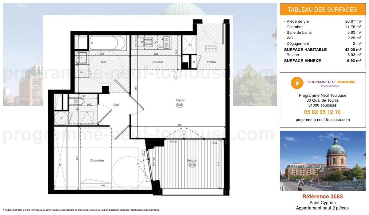 Plan pour un Appartement neuf de  42.05m² à Saint Cyprien