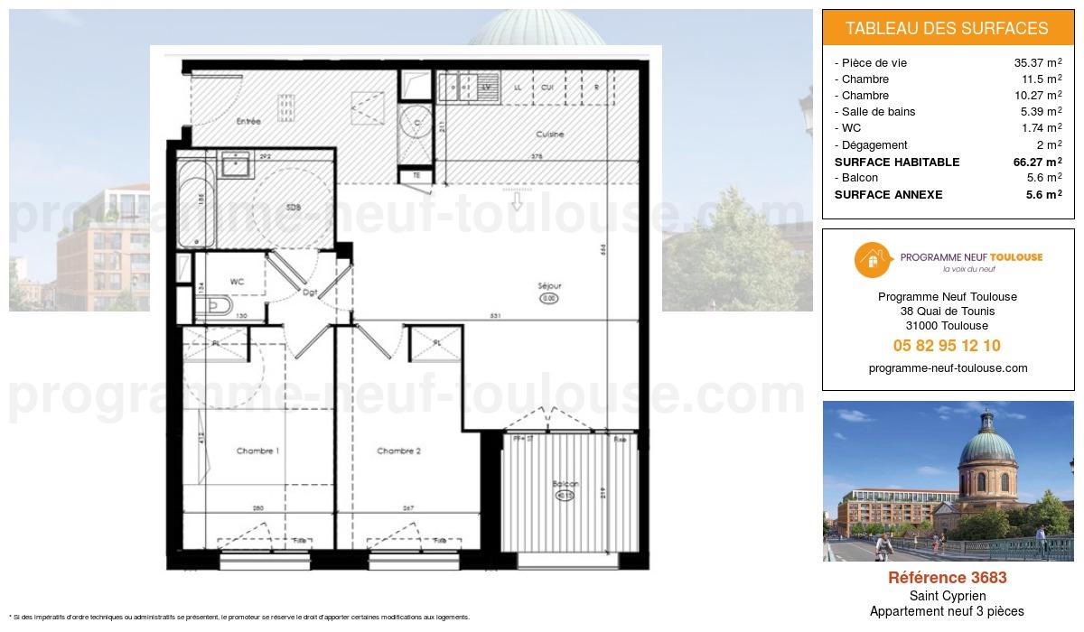 Plan pour un Appartement neuf de  66.27m² à Saint Cyprien